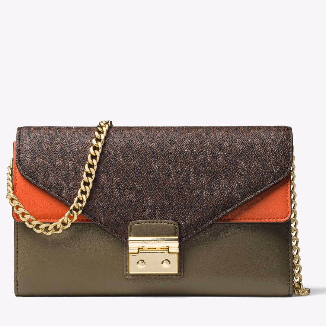 91e37fcf66124d Authentic MK Michael Kors Sloan Logo and Leather Green & Orange ...