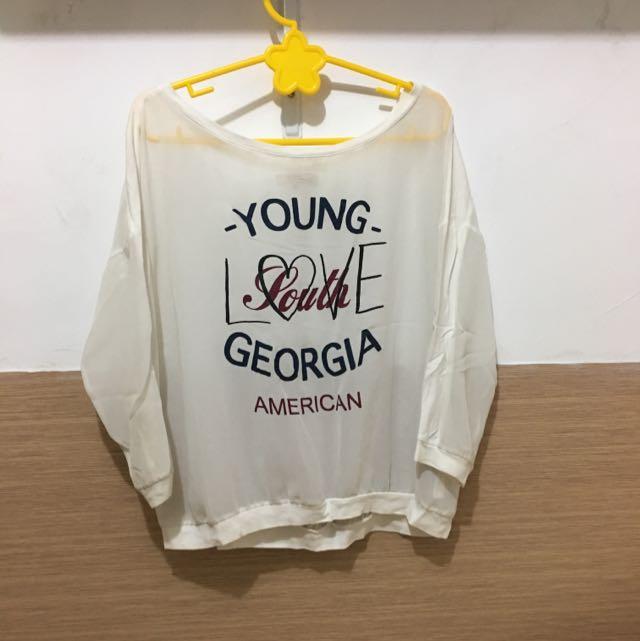 baju putih chiffon BERSHKA