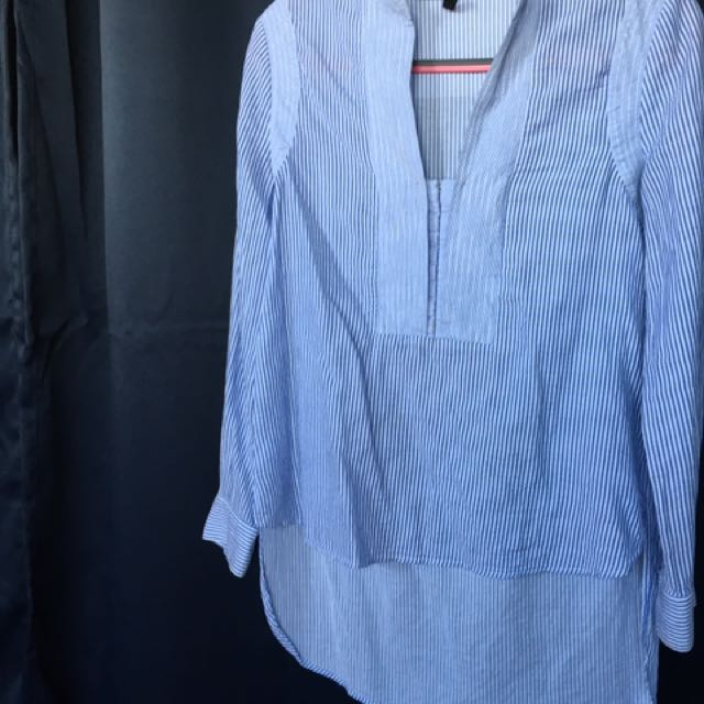 BCBG Light Blue Stripe Cotton Tunic Blouse