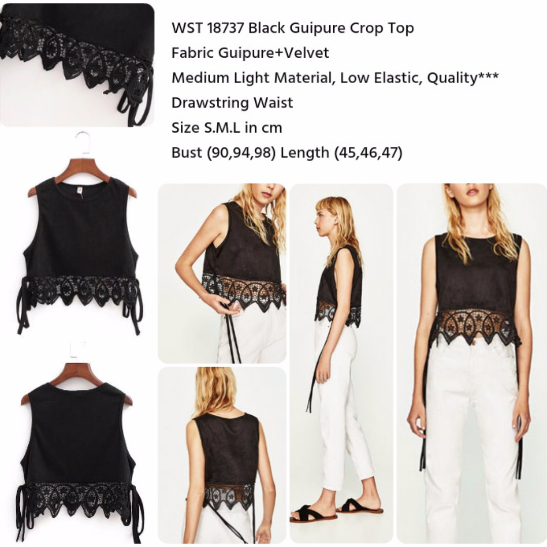 Black Guipure Crop Top
