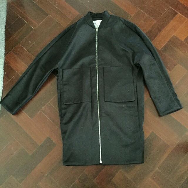 Romere Black Long Bomber Jacket