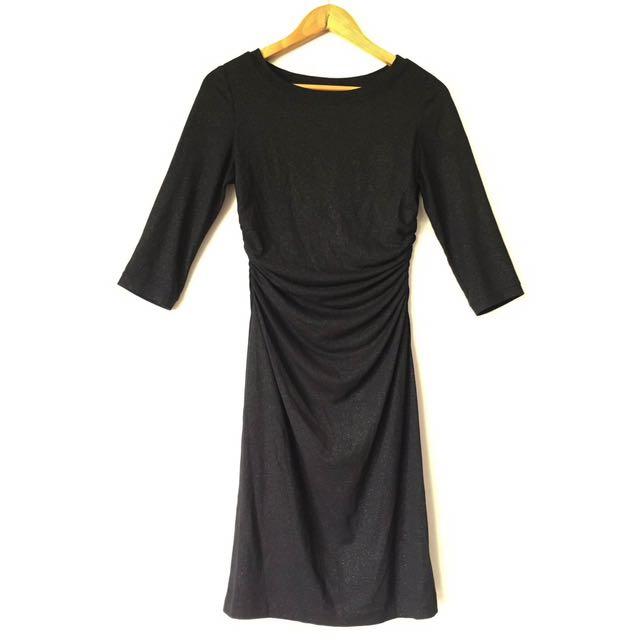 Black Sparkling Long Sleeve Dress