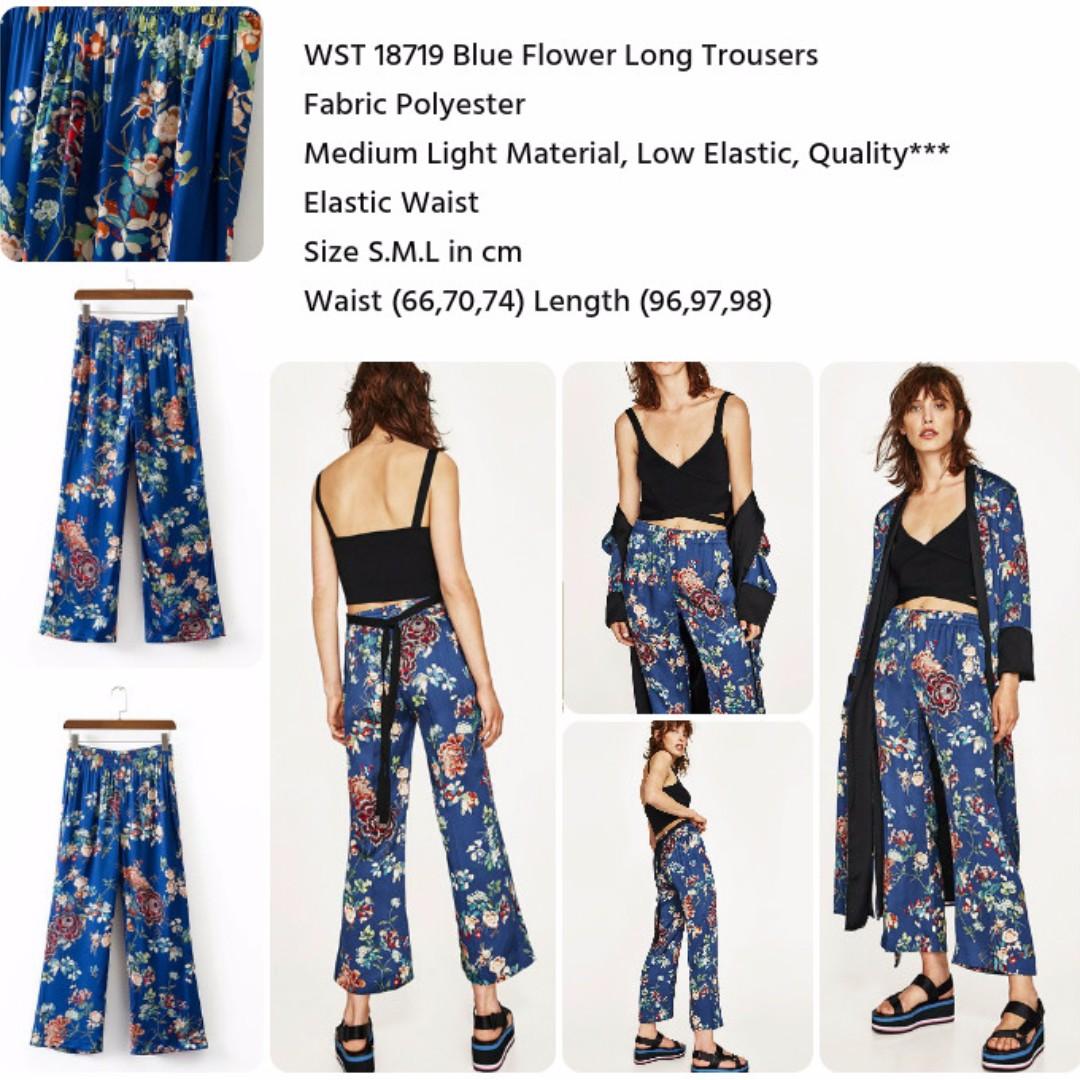 Blue Flower Long Trousers