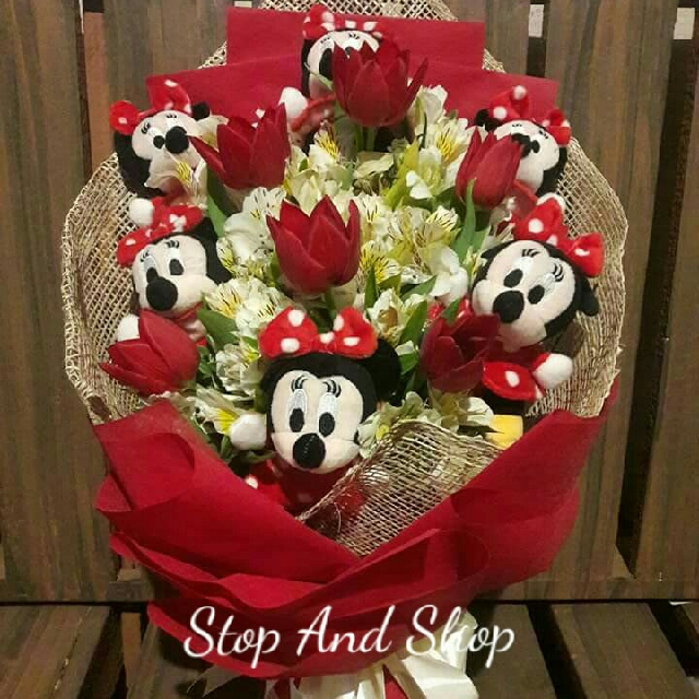 Well-known Bouquet (Mickey Mouse with Fresh Tulips), Design & Craft, Others  NH59