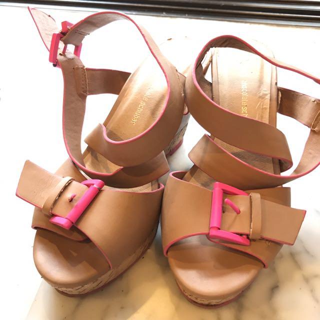 Chocolate Schubar Brown Pink Platform Wedges UK 5 EU 37