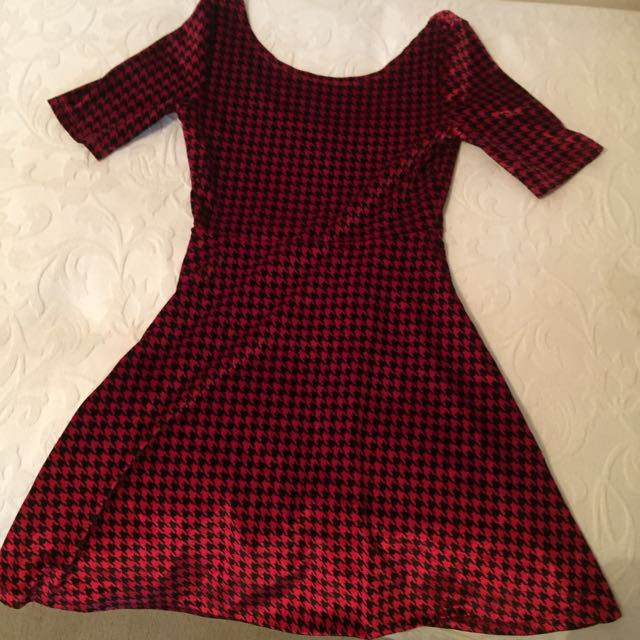 Dangerfield Velvet Houndstooth Dress Size Small