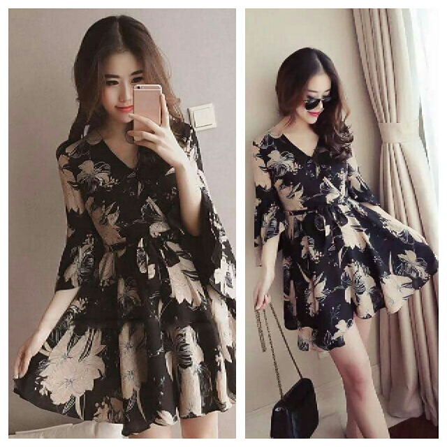 Floral Dress with Waisted Ribbon