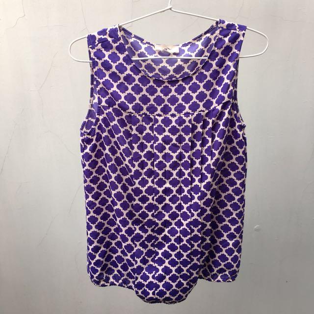 Forever 21 blue patterned sleeveless blouse