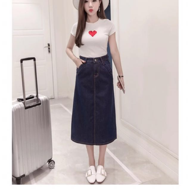 e666c7ac39b High Waist Denim Midi Skirt Plus Size Available