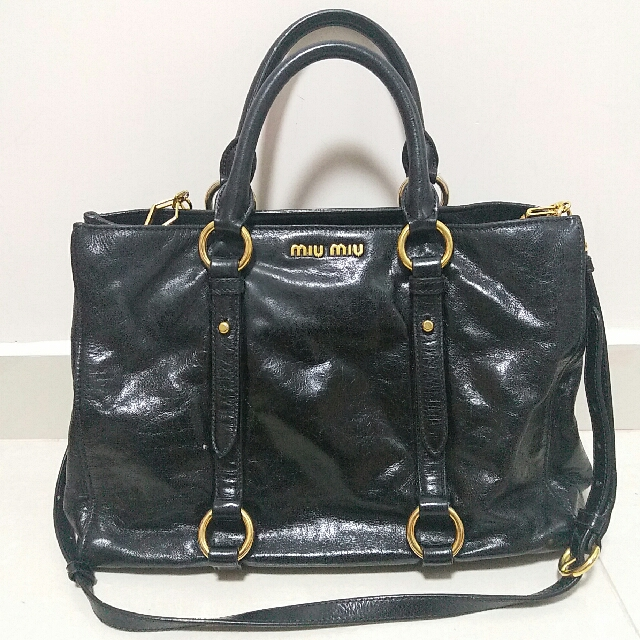 9ae0194c0d6a Soldit in SG)Auth Miu Miu Vitello Shine Black Leather 2way bag ...
