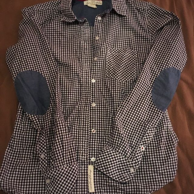 H&M button up dress shirt with elbow pads