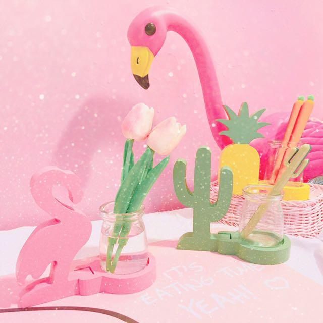 韓國創意小清新ins仙人掌菠蘿花瓶少女心學生桌面擺件收納女筆筒