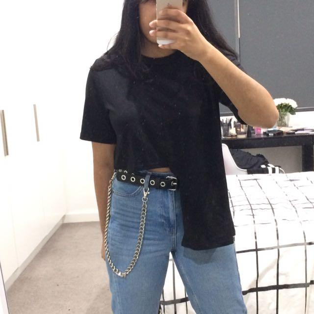 Korean fashion asymmetric t-shirt