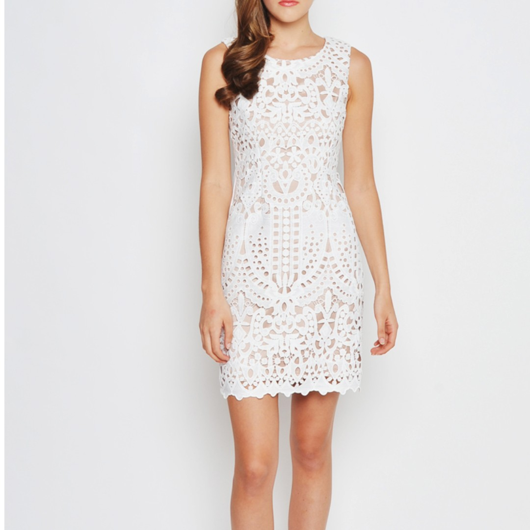 501b3c8ab1f3c Malena Abstract Crochet Dress in White from Love and Bravery ...