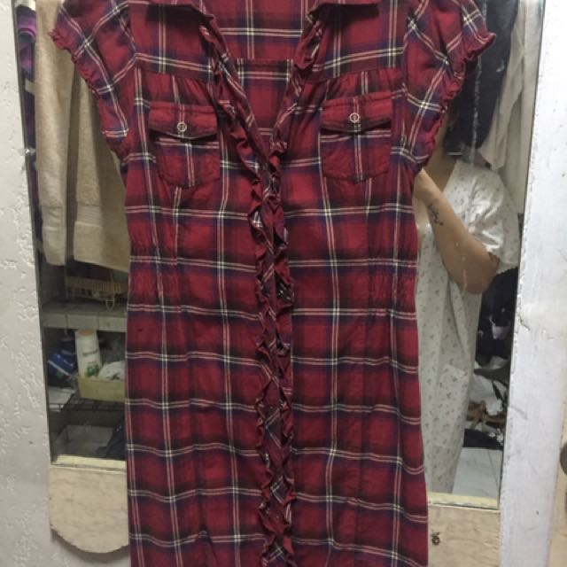 Mossimo front snap plaid dress
