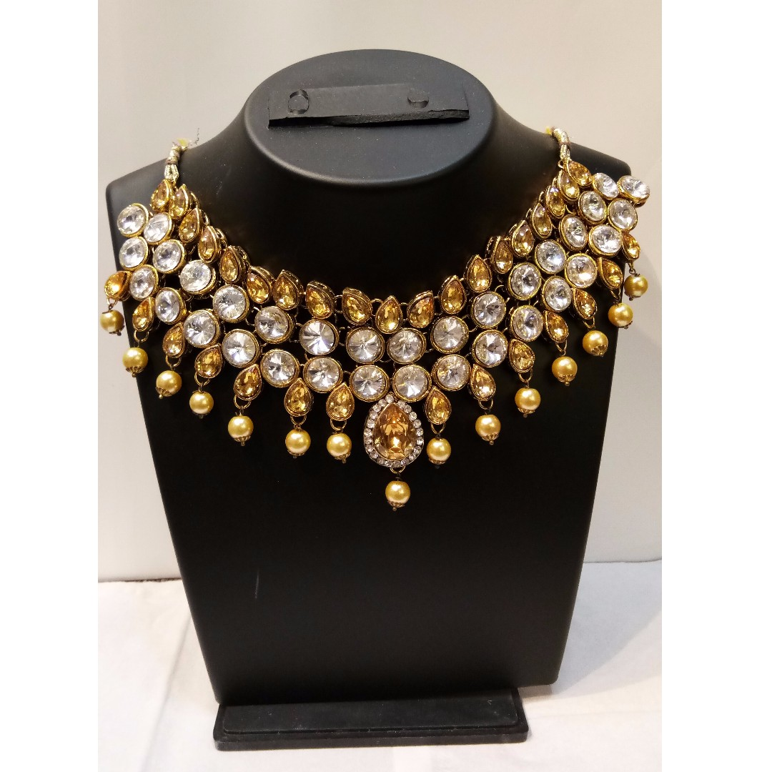 New Arrival - Micro Gold Plated White Studded Necklace Set With ... 6c569ffbb3