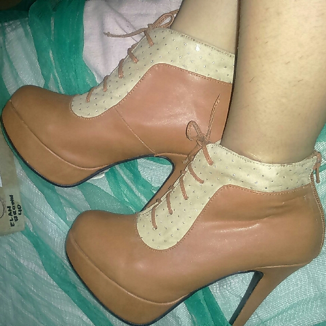 Nude and Tan Combi Lace-Up Boots