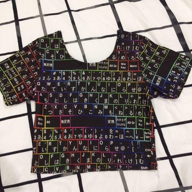 Omighty Japanese keyboard print crop top