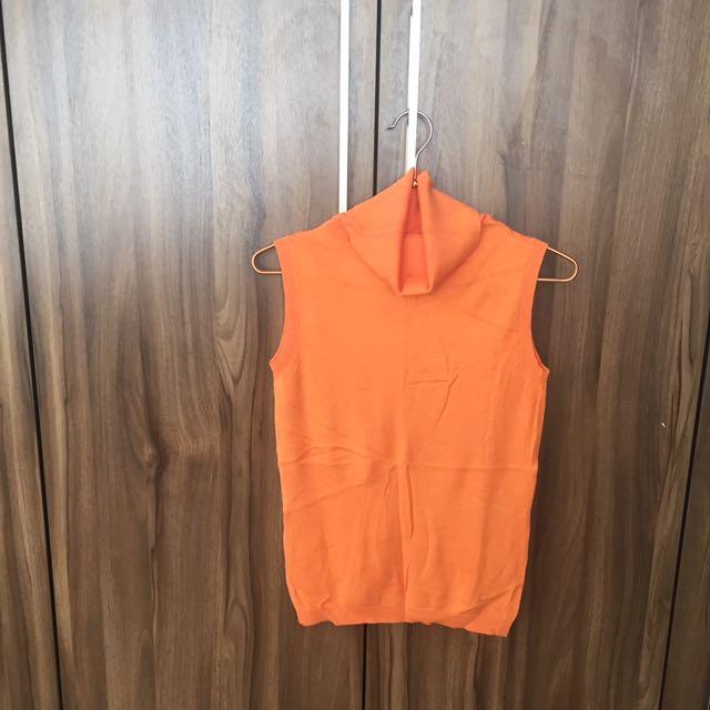 Orange turtle neck sleeveless