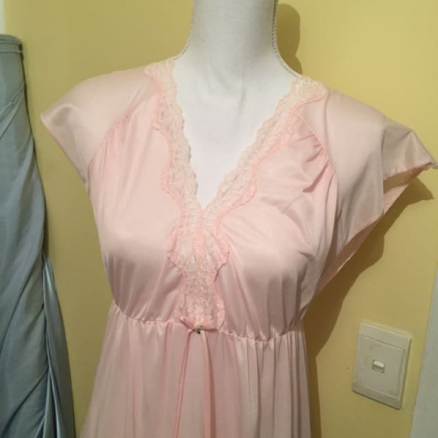 Pastel Baby Pink Lace Vintage Bed Dress