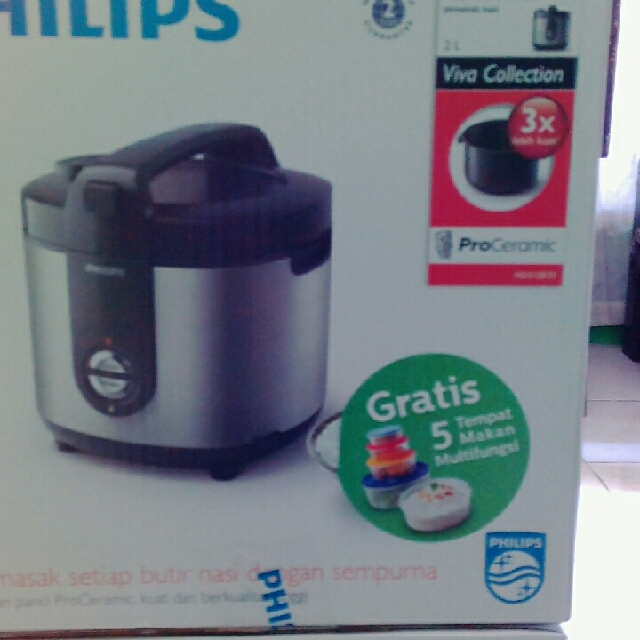 Philips Rice Cooker HD 3128 Gold & Silver, Kitchen & Appliances on Carousell