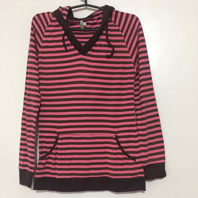 Pink striped hoodie