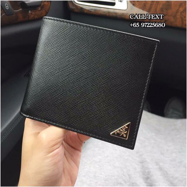 26680fade7dc9f Prada Saffiano Triang Wallet Black 2M0513 QHH F0002 on Carousell