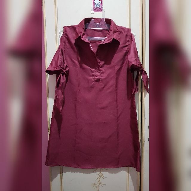 REPRICE Red wine ribbon shirt dress