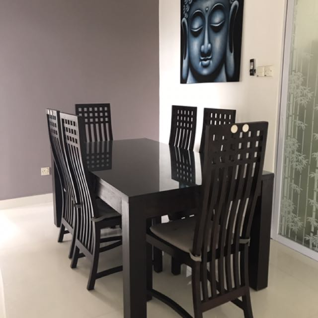 Teak Wood Dining Table With Custom Made Glass Top And 6 Chairs