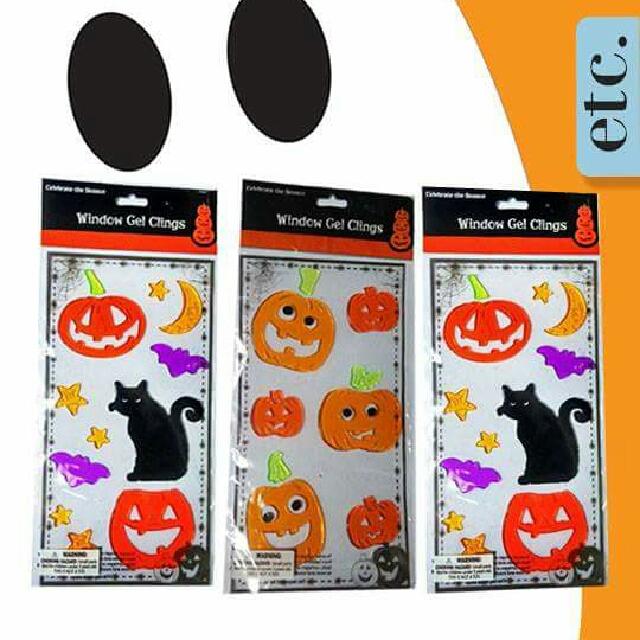 Three (3) Black Cat Pumpkins Bats Gel Window Clings
