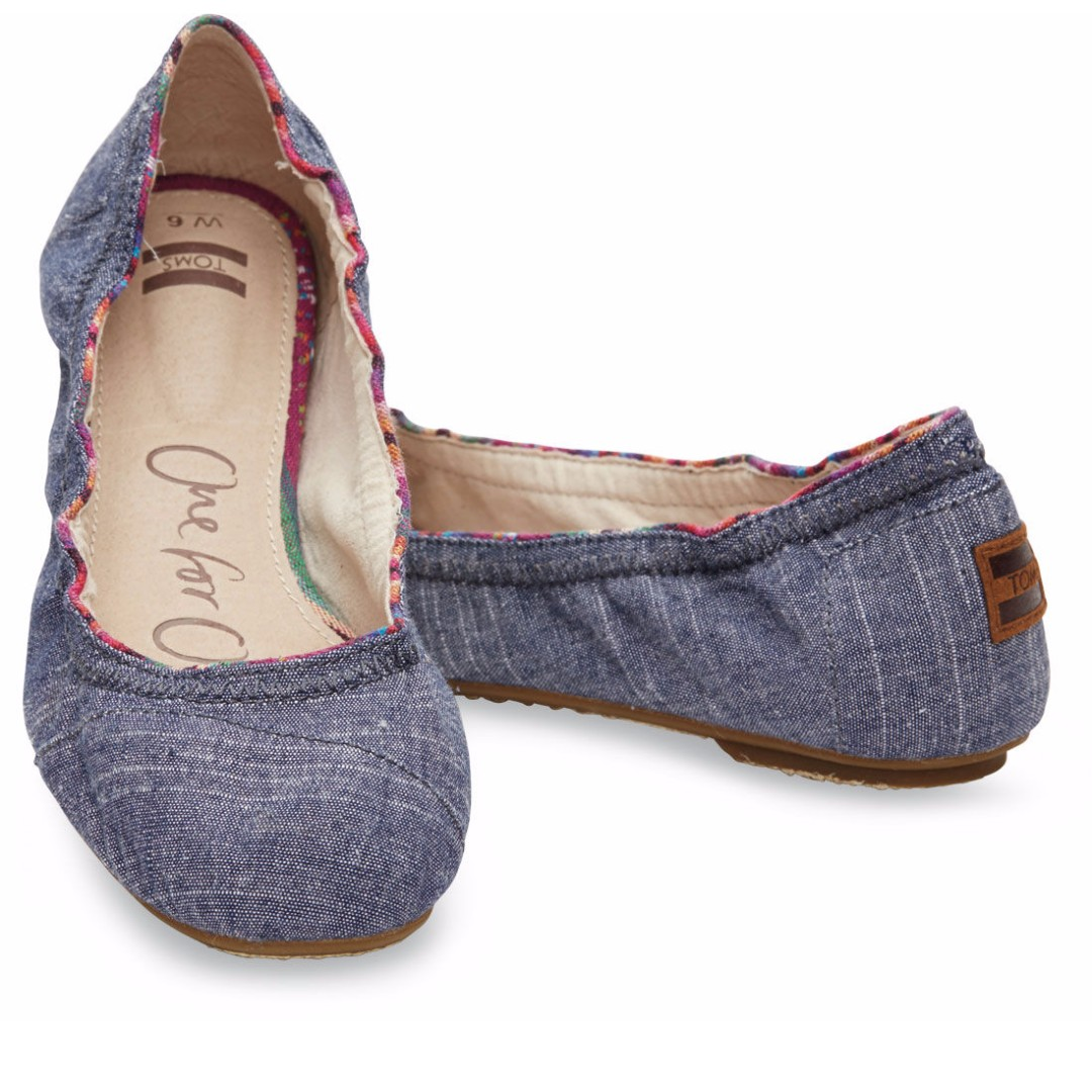 1165404e114 Toms Ballet Flats - BLUE SLUB CHAMBRAY