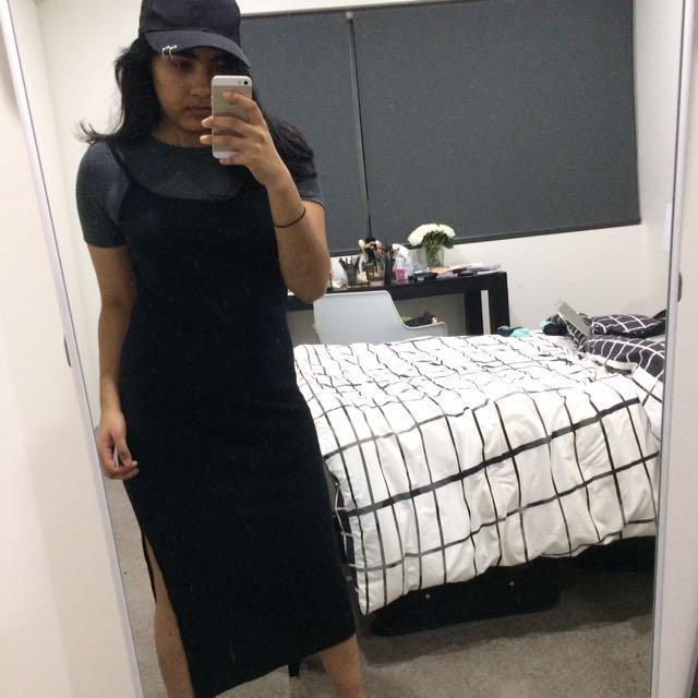 Topshop ribbed midi dress