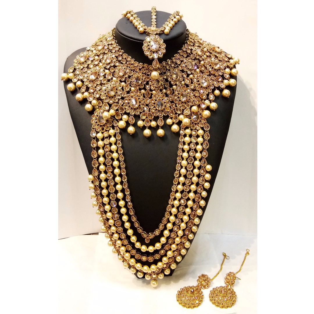 Traditional Indian Gold Choker And Long Necklace Set