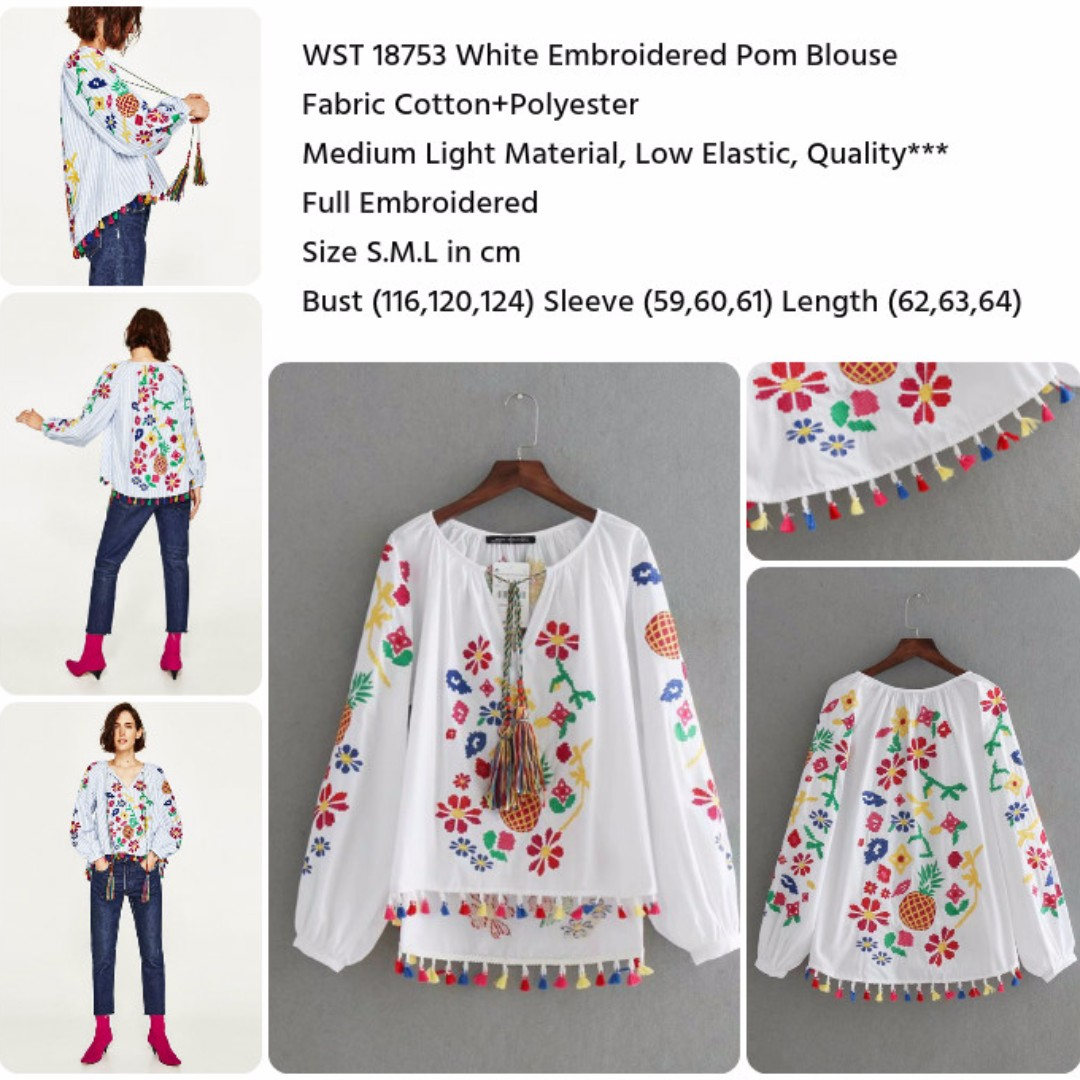White Embroidered Pom Blouse