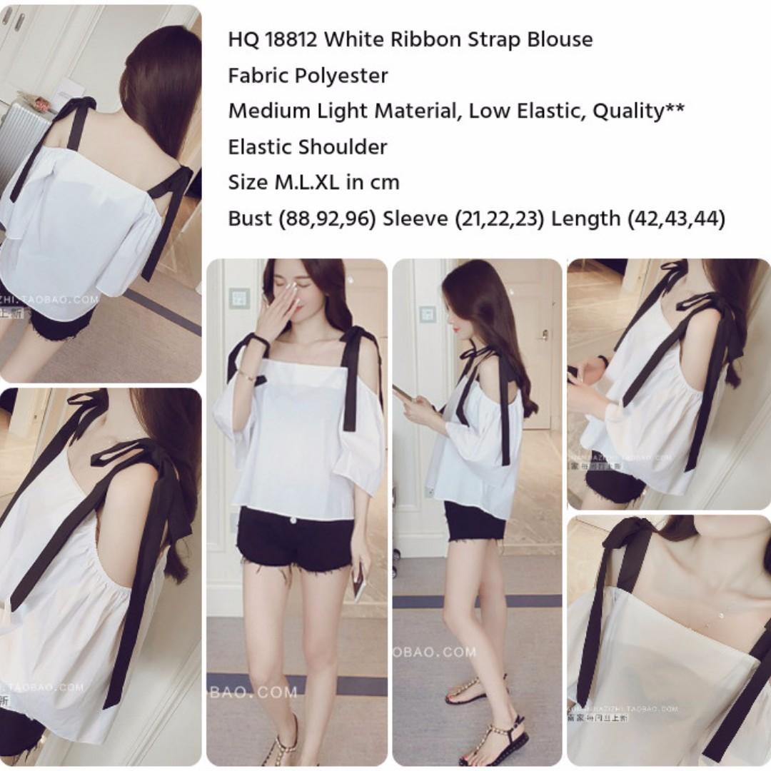White Ribbon Strap Blouse