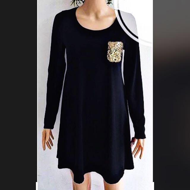 Xhilaration Black Longsleeve Dress sweater