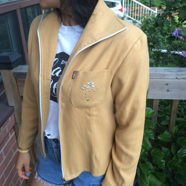 Yellow Beige Zip-up Blazer