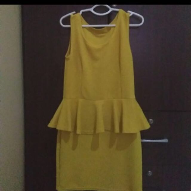 Yellow Mustard Peplum Dress