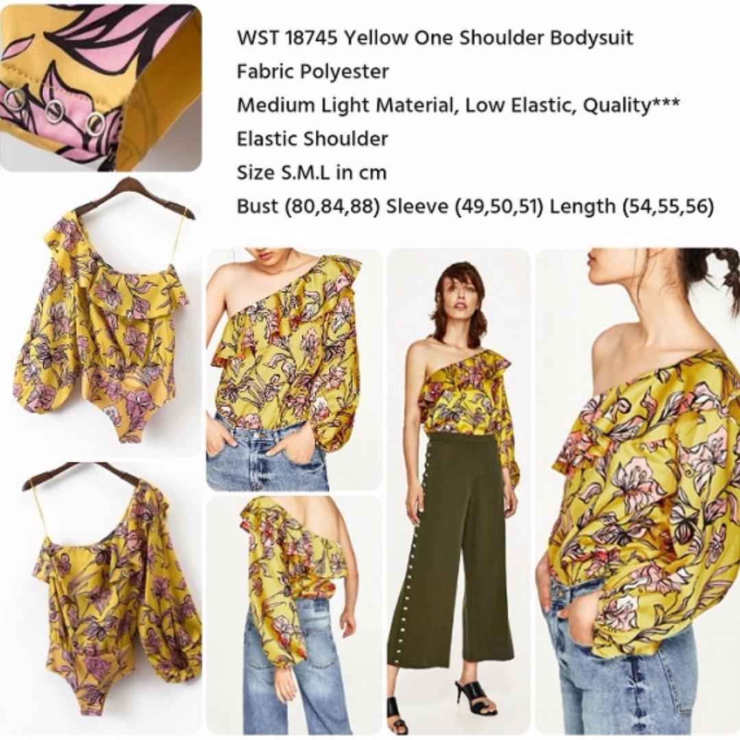 Yellow One Shoulder Bodysuit