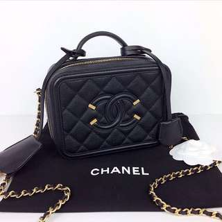 Chanel Vanity Case in Black, Gold Hardware