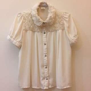 🇰🇷正韓 米白 立體玫瑰花瓣造型 公主袖雪紡上衣
