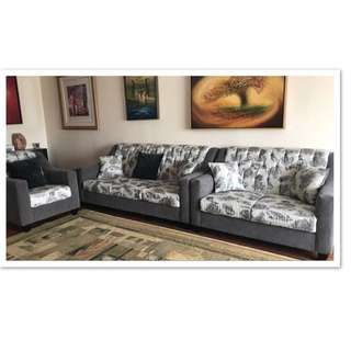 3 piece Grey and white Brand new/not used couch