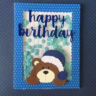 Bear Shaker birthday card in blue