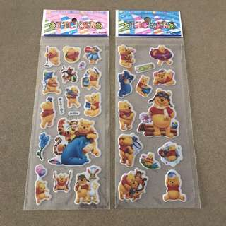 2 small sheets Winnie the Pooh bear stickers