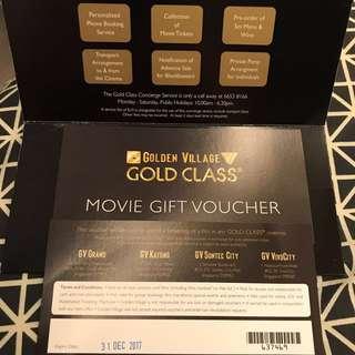 GV gold class movie tickets