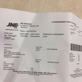 Resi jne pengiriman ke Makassar thank u sis