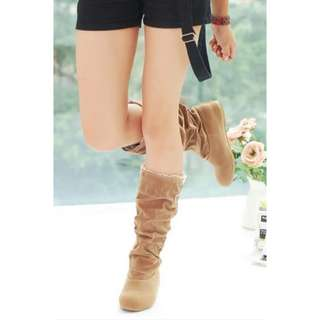 LALANG New Fashion Casual Flat Shoes Sweet Boot Stylish Mid-calf Boots Yellow