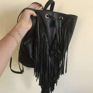 NEON HART black leather fringe backpack