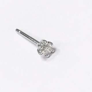 18k白金7份鑽石耳環一隻