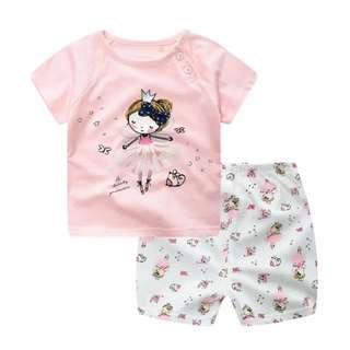 3T Pink Ballerina Tee with matching shorts set
